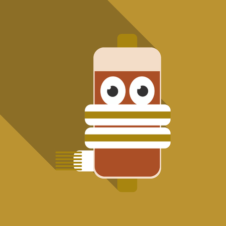 Battery with cord  and eyes cartoon style illustration.