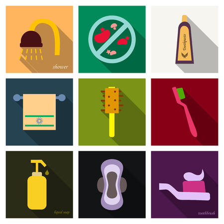 Set of simple hygiene icons.