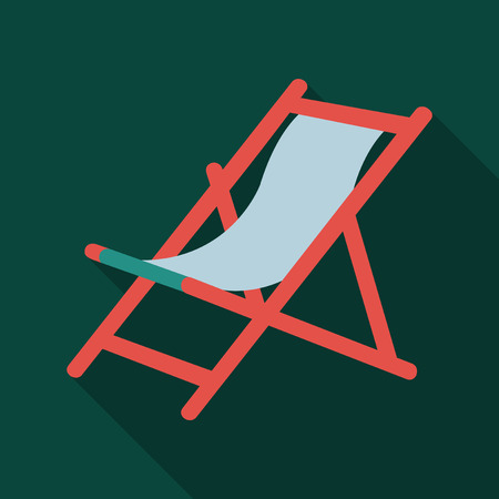 Illustration Wooden Beach Chaise Longue Isolated on Background Illustration