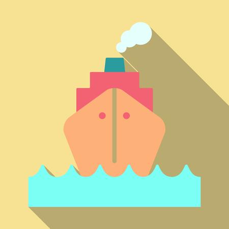 Cruise Ship vector Illustration. Retro styled cruise ship on the ocean.