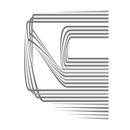 The letter N in linear pattern Illustration