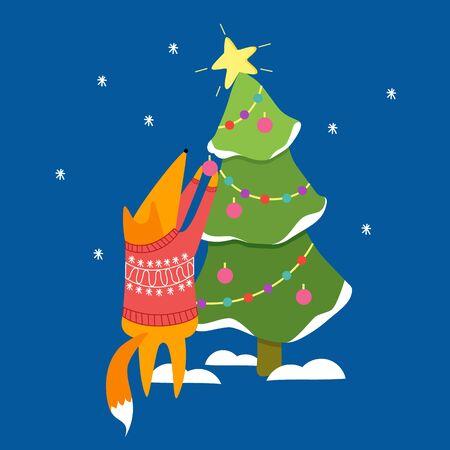 Fox and Christmas tree