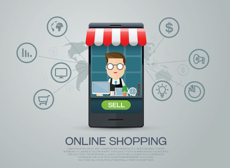 e-commerce business shopping online Ilustracja