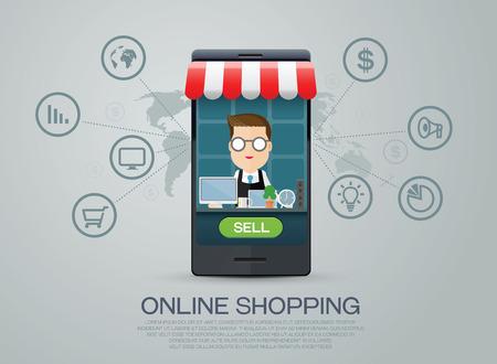 e-commerce business shopping online Illustration