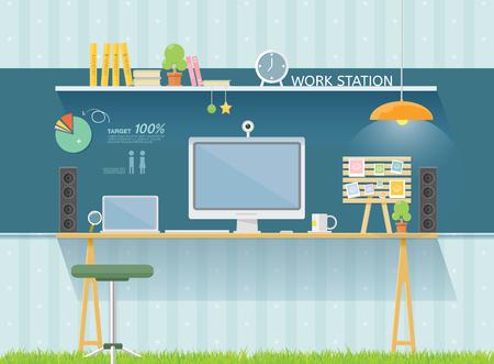 computer net: work table Illustration