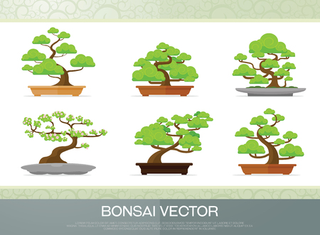 set of bonsai plant  in the pot illustration vector flat style
