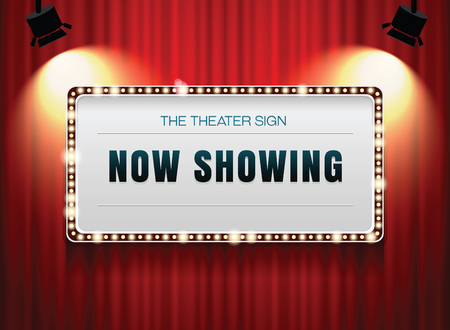 red theater curtain: theater sign on curtain