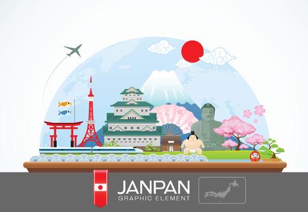日本インフォ グラフィックの旅行地と landmarkVector の図