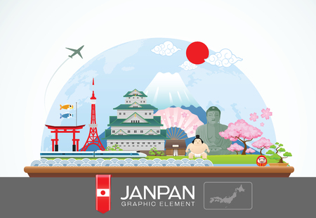 japanese fan: janpan infographic travel place and landmarkVector Illustration