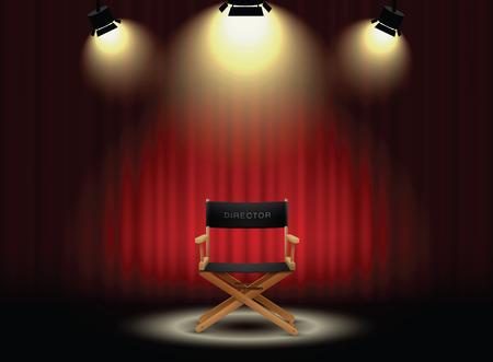 Curtain background e la sedia del regista con il riflettore Archivio Fotografico - 55050090