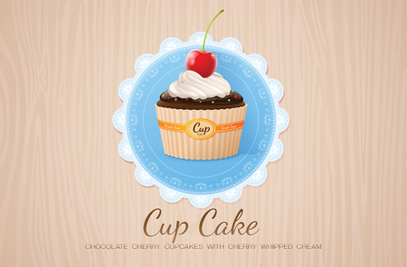 cherry wood: cup cake chocolate cherry on table wood