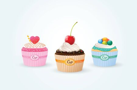 cup cakes: cup cakes chocolate mint strawberry Illustration