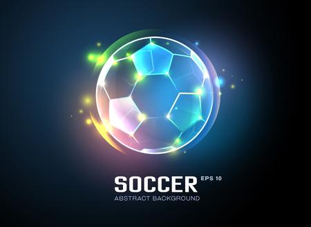 voetbal met sprankelende licht abstracte achtergrond