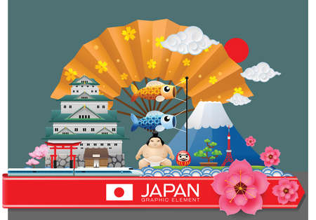japan infographic travel place and landmark Vector Illustration