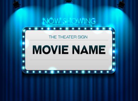 カーテンとスポット光を背景に劇場のサイン  イラスト・ベクター素材