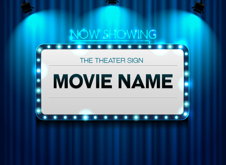 theater sign on curtain and spot light background