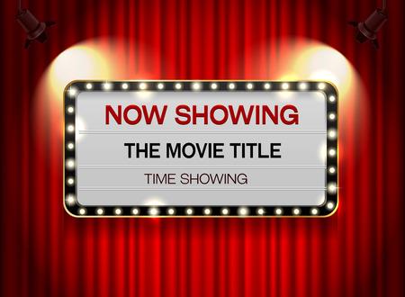 Theater Zeichen auf Vorhang Standard-Bild - 63273291