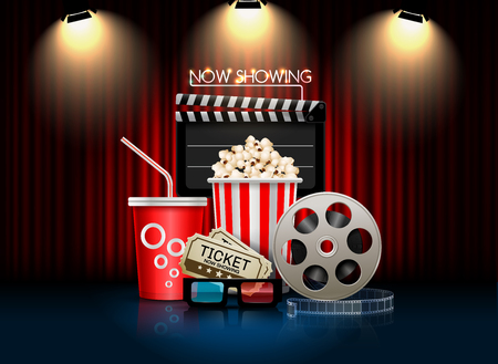 cinema movie theater object on curtain background