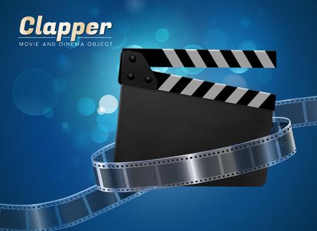 slate film: clapper cinema movie theater object on bokeh background