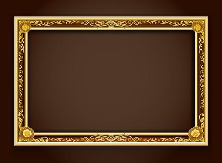 Gouden kader, kader, kader grens, foto frame, frame vector illustratie, kader patroon gouden achtergrond, Frame florale stijl, Frame louis stijl