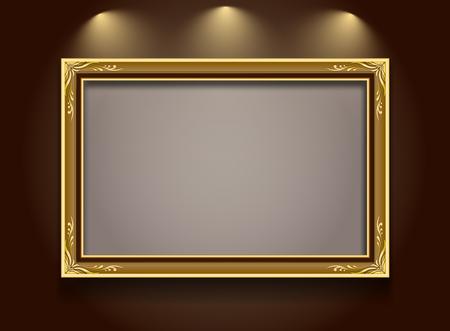 Gold frame,frame,frame border,Photo frame,frame vector illustration,frame pattern gold background,frame on wall spotlight,Frame floral style Иллюстрация