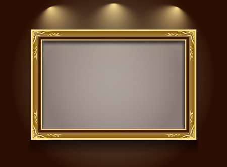 Gouden kader, kader, kader grens, foto frame, frame vector illustratie, kader patroon gouden achtergrond, frame op de muur schijnwerper, Frame stijl