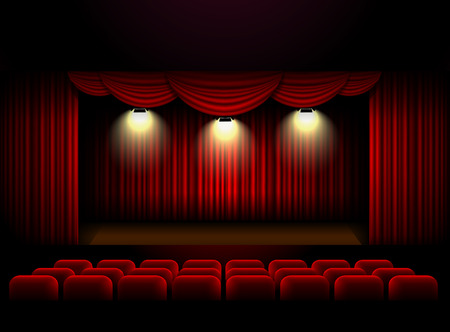 Théâtre rideau de scène de fond Vector illustration Banque d'images - 65834423