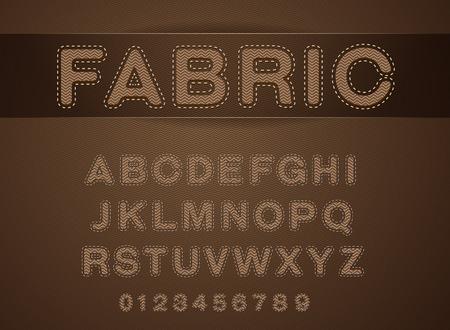 font fabric set on cloth texture