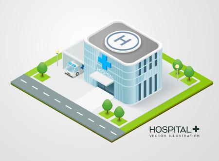 isometric hospital, vector hospital Çizim