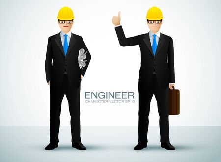 Construction worker, engineer or architect holding projects blueprints character. vector illustration Illustration