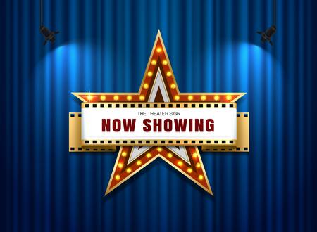 劇場のサイン スター カーテン上の図形
