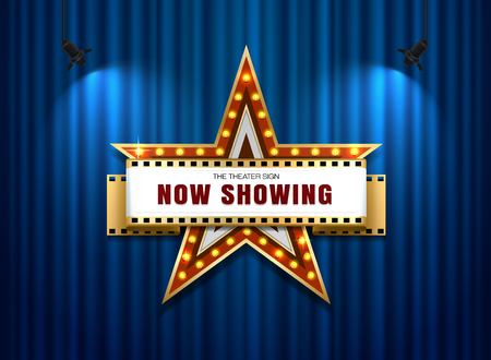 Signe de théâtre forme d'étoile sur le rideau Banque d'images - 70085455