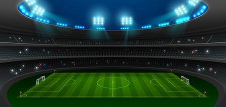soccer football stadium spotlight background with glitter light vector