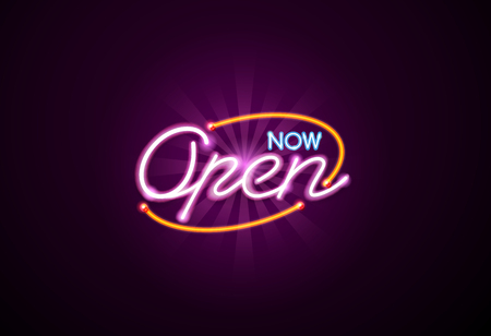 now open neon sign light glow mesh object vector but easy to change color Ilustrace