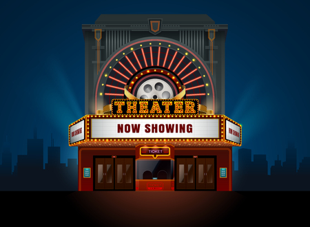 theater cinema building vector easy to change color and object  イラスト・ベクター素材