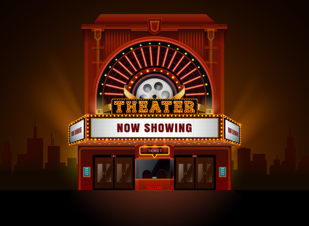theater cinema building vector easy to change color and object Çizim