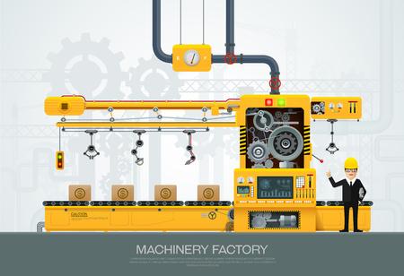 フラット スタイルの産業機械。工場建設機械、工学エンジニアの文字ベクトル図