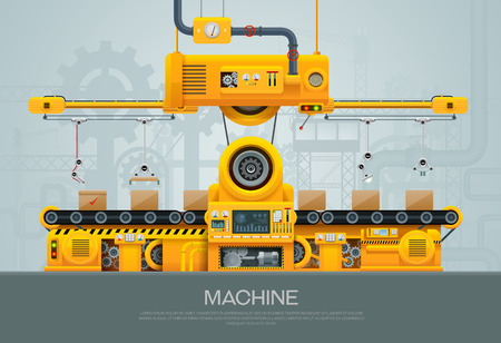 Machine and manufacture machinery factory vector illustration