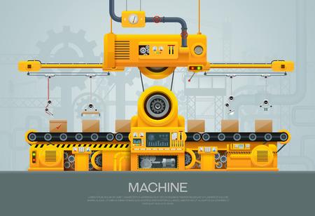 Machine en vervaardiging machines fabriek vectorillustratie