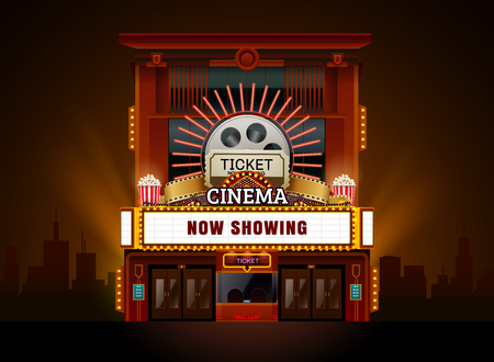 Theater cinema building vector easy to change color and object.
