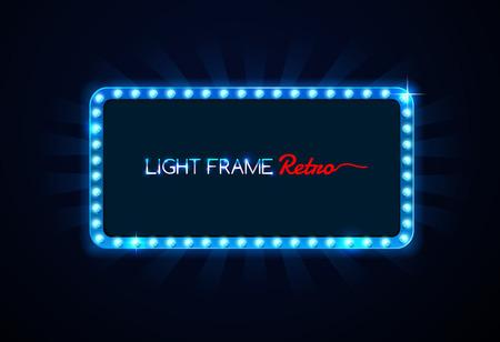Light frame retro,Shining retro light banner Illustration
