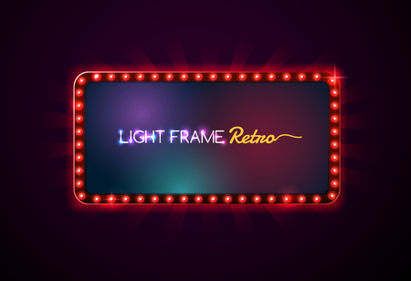 Light frame retro,Shining retro light banner,Theater sign,Light sign