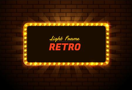 Editable  presentation of a design for Light frame retro,Shining retro light banner Illustration