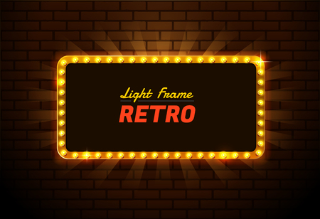 Editable  presentation of a design for Light frame retro,Shining retro light banner Vectores