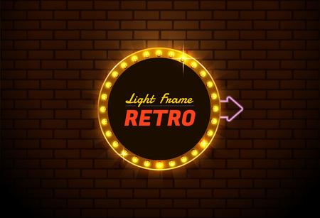 Colorful  presentation of a design for Light frame retro,Shining retro banner.you can move arrow