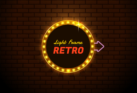 Colorful  presentation of a design for Light frame retro,Shining retro banner.you can move arrow