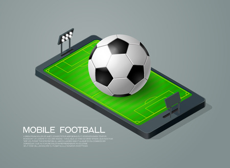 penalty: mobile phone isometric and soccer football live