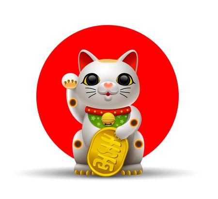 日本猫。Maneki.Neko 猫。  イラスト・ベクター素材