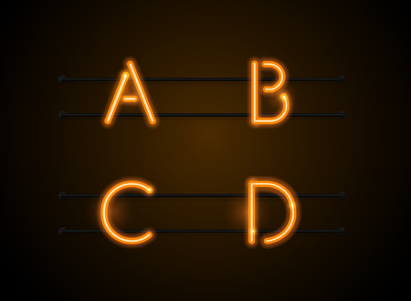 Neon Light sign Alphabet Vector Font. Type letters, Neon tube background. Glowing Neon Bar Alphabet. Realistic style