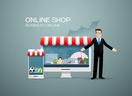 Online shop business with businessman.